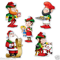10 CHRISTMAS Holiday Party Decorations Paper Beistle Die Cut SANTA ELVES CUTOUTS $2.99