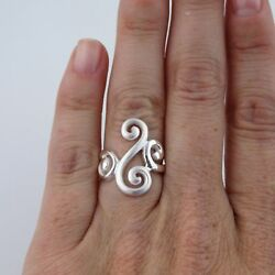 Fancy Swirl Ring - 925 Sterling Silver Unique Cocktail Ring Filigree Scroll NEW