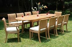 9 PC TEAKWOOD DINING SET GARDEN OUTDOOR PATIO FURNITURE POOL GIVA ARMLESS DINING
