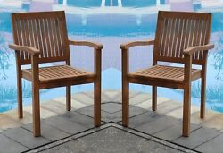 QTY 2 STACKING ARM CHAIR - A GRADE TEAK GARDEN OUTDOOR DINING PATIO LEVE
