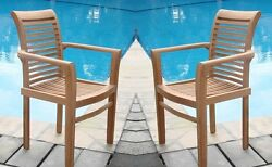 QTY 2 STACKING ARM TEAK DINING CHAIR A GRADE GARDEN OUTDOOR FURNITURE PATIO SAM