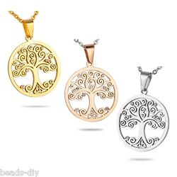 BD Fashion Stainless Steel Round Tree of Life Pendant With Shiny Crystal
