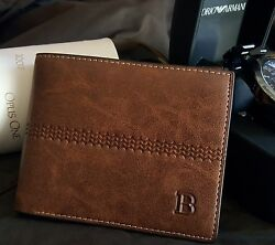 New Men#x27;s Leather Bifold ID Card Holder Purse Wallet Billfold Handbag Clutch $9.49