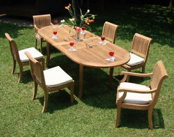 7 PC TEAK DINING SET GARDEN OUTDOOR PATIO FURNITURE NEW D03 - GIVA COLLECTION
