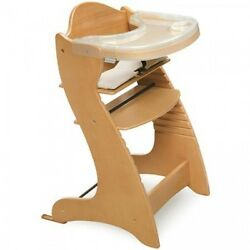 Adjustable High Chair Wooden Plastic Feeding Tray System Baby Infant Kid Natural