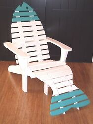 Oversize Poly Fish Adirondack Chair wOttoman & End Table - Quality - Amish Made