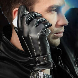 Mens Chic Luxury Faux Leather Winter Warm Cashmere Lining Driving Cycling Gloves