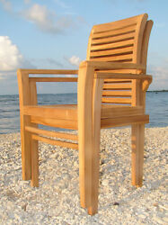 Qty 2 - Sam Grade-A Teak Wood Dining Stacking Arm Chair Pair Outdoor Furniture