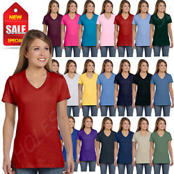 Hanes Womens T Shirt 100% Cotton 4.5 oz Short Sleeve V Neck nano Tee S04V