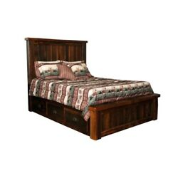 Rustic Barn Wood Furniture - Queen Size Bed - 6 Storage Drawers - Amish Made