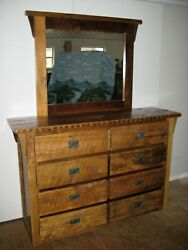 Rustic Barn Wood Furniture - 8 Drawer Dresser w Mirror - Amish Made