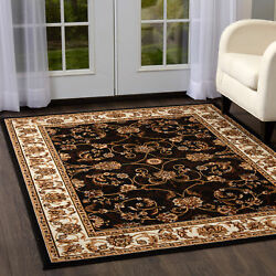 Rugs Area Rugs Carpet Flooring Persien Area Rug Brown Bordered Oriental Carpet $59.99