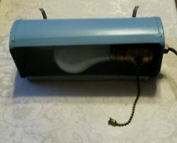 VINTAGE METAL HANGING PLUG IN LIGHT PAINTED BLUE GRAY WITH HANGING HOOKS $24.99