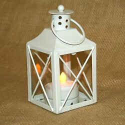 Small White Metal Lantern w Battery Operated Tea Light Candle