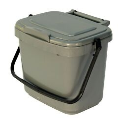 Kitchen Compost Caddy Silver Grey for Food Waste Recycling 5 Litre 5L Bin GBP 7.49