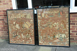 A Pair of Large Japanese Meiji Period Silk Embroidered Panels大幅日本刺绣作品
