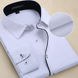 Camisas Mens Dress Shirts Luxury Casual Slim Fit Long Sleeve Multicolor Shirts $16.19