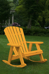 Pressure Treated Pine Adirondack Rocking Chair Amish Made USA - Fir Pine Stain