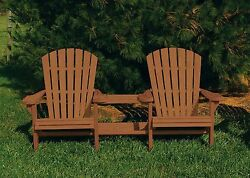 Pressure Treated Pine Outdoor Adirondack Settee wCenter Table-Warm Brown Stain
