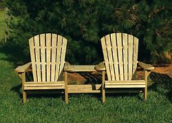 Pressure Treated Pine Outdoor Adirondack Settee wCenter Table-7 PAINT OPTIONS