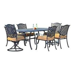 Sunjoy Triumph 7-Piece Outdoor Dining Set 1 Table 2 Swivel  4 Fixed Leg Chairs