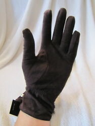 MOSCHINO GLOVES logo leather brown suede winter lined 6.5 stud $49.99