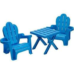 Kids Sturdy Blue Plastic Outdoor Patio Adirondack Style Chairs Square Table Set