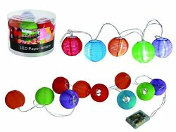Colourful Paper Lantern necklace 10 LED Ø 3in long 7 910ft for 3 Batteries