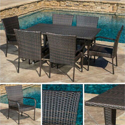 Outdoor Dining Set Brown 7pc Wicker Patio Furniture Table Chair Pool Garden Deck