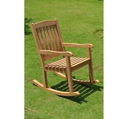 Devon Grade-A Teak Wood Beautiful Rocker Rocking Arm Chair Outdoor Patio Garden