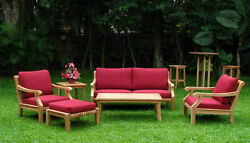 Giva Grade-A Teak Wood 6 pc Outdoor Garden Patio Large Sofa Lounge Chair Set New