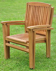 Qty 2 - Wave Grade-A Teak Wood Dining Stacking Arm Chair Pair Outdoor Furniture