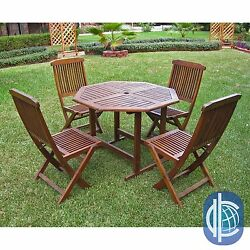 Outdoor 5 Piece Folding Hardwood Patio Dining Table Chair Curved Back Set