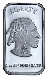 1 oz .999 Fine Silver Buffalo Liberty Bar Sealed in Plastic SKU40117 $38.00