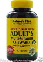 NEW NATURE'S PLUS ADULT'S MULTI VITAMIN EXOTIC RED SUPER FRUITS GLUTEN FREE