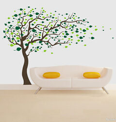 Large Blowing Tree leaves Removable Wall Art Stickers Kids Nursery Vinyl Decals AU $38.99