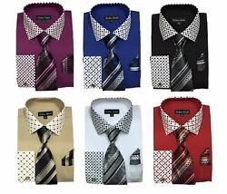 Men's Cotton Blend French Cuff Dress Shirt with Tie Hanky and Cufflinks  MS630