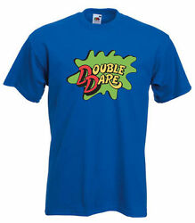 BLUE Double Dare Logo Nickelodeon Costume T shirt S 5XL Youth amp; Adult sizes $12.99