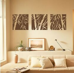 3 Large Pcs Bamboo Wall Art Sticker Decal Bedroom Home Decor Canvas Dining room GBP 27.99