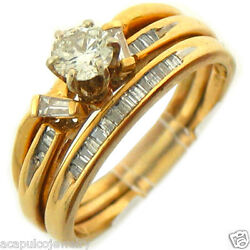 1.25Ctw Solitaire Round Cut Diamond w Accent Engagement Ring 14K Yellow Gold