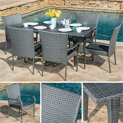 Outdoor Dining Set Gray 7pc Wicker Patio Furniture Table Chairs Pool Garden Deck