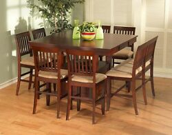 Simple Dining Room Counter Height Table w1 Bench & 6 Chairs Stools Espresso 8pc