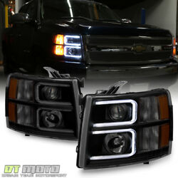 Blk Smoke 2007-2013 Chevy Silverado 1500 2500 LED DRL Tube Projector Headlights $189.99