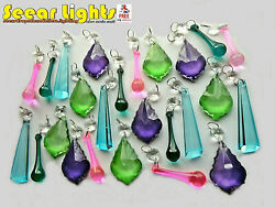 KITSCH CRYSTALS CHARMS CHANDELIER CRAFTS PARTS 25 GLASS DROPS BEADS DROPLETS GBP 34.99