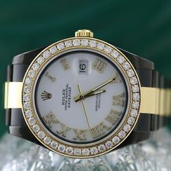 Rolex Datejust II 116333 PVD Coated Two-Tone 41mm White Roman Dial Diamond Bezel