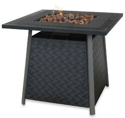 Fire Pit Table LP Outdoor Patio Heating Living Space Liquid Propane Slate Finish
