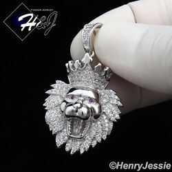 925 STERLING SILVER LAB DIAMOND BLING SMALL LION KING HEAD CROWN PENDANT*SSP122