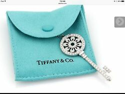 "Tiffany & Co Petals Key Pendant 1.18 Carat with 30"" Tiffany Chain"