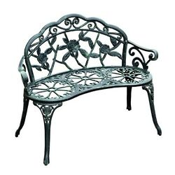 Cast Iron Bench Antique Rose Outdoor Patio Garden Sturdy Relax