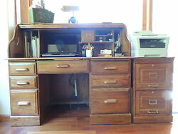 3 Piece Riverside Rolltop File Cab. & Chair